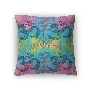 Throw Pillow, Ohm Om Aum Symbol And Lotus