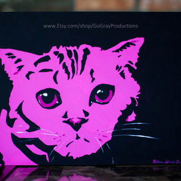 Cat Painting - Pink Tabby Scottish Fold Cat Wall Art Pet Painting - Original Artwork on Art Board