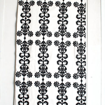 White Black Damask Pattern Area Rug Floorcloth Rug Cotton Canvas Area Rug Unique Wedding Gift