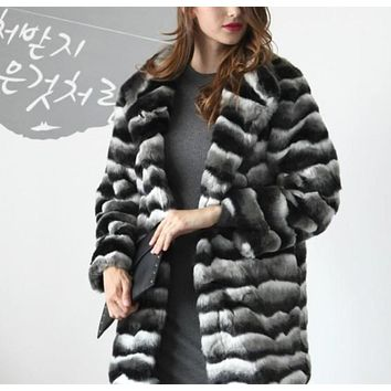 Womens Striped Faux Fur Coat