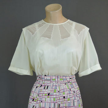 XL Ivory Nylon Blouse with Sheer Pintucked Inserts, 1950s 1960s, 42 Bust, button back