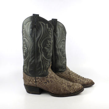Snakeskin Cowboy Boots Vintage 1980s Men's Gray Leather Tony Lama Western size 9 D