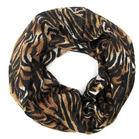 Tiger Striped Cowl Loop Scarf Womens Circle Infinity Scarf Teen Endless Loop Scarf PoePoe Just Enough Scarf Black Brown White Eternity Scarf