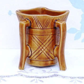 St Michael's House Vase or Planter, Four Handles and Legs, Honey Brown, Studio Pottery, Hand Thrown, Hand Painted, Hand Crafted