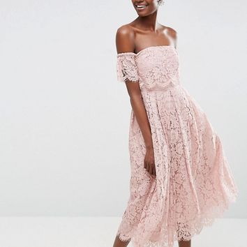 ASOS Off the Shoulder Lace Prom Midi Dress at asos.com