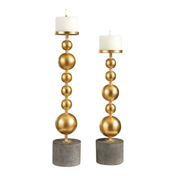Selim Candleholders Bright Metallic Gold / Concrete Base (set of 2)