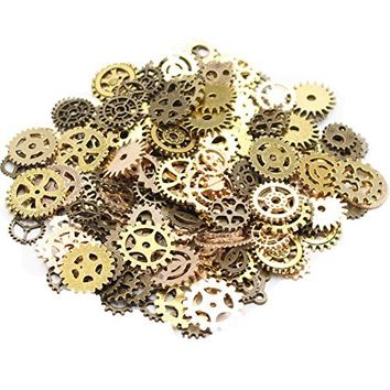 Teenitor Mixed Color 100 Gram (Approx 70pcs) Assorted Antique Steampunk Gears Charms Pendant Clock Watch Wheel Gear for Crafting, Jewelry Making