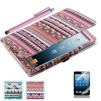 iPad Mini Case, iPad Mini 2/3 Case - ULAK Tribal Design Flip Case Cover with Auto Sleep/Wake Function for Apple iPad Mini 1/2/3 (Red Tribal)