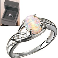 Avon: Sterling Silver Created Opal Ring in Gift Box