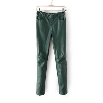 RMG81 American Fashion Women winter thick warm green Faux Leather pants Stretch zipper pocket Casual brand trousers plus size