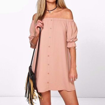 Plus Size Off Shoulder Mini Party Dress