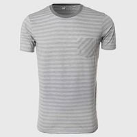 Men Stripe T Shirts Grey White Fine Striped Tee Shirts Designer O Neck Tops Short Sleeve