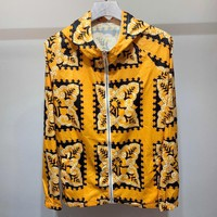 Valentino Summer Newest Butterfly Floral Print Hooded Zipper Jacket Coat Sun-Protective Windbreaker Yellow