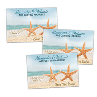 Starfish Save The Date Cards - Beach Wedding Save The Dates - Printable or Printed - Blue Beach - Sand Star Fish - Ocean - Sea - Nautical