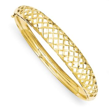 14k Yellow Gold Diamond Cut Graduated Weave Hinged Bangle Bracelet