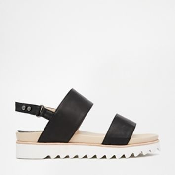 Glamorous Black Double Strap Grunge Sole Flat Sandals at asos.com