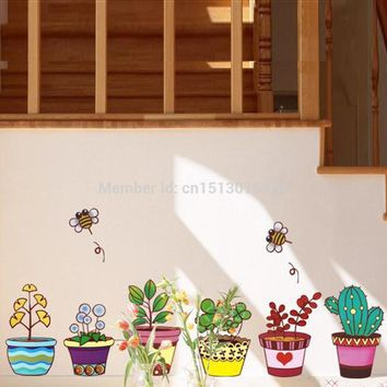 Garden Flower Bee Pot Plant Decal Wall Art Stickers