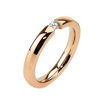 Falling In Love - Women's CZ Rose Gold IP Stainless Steel Ring
