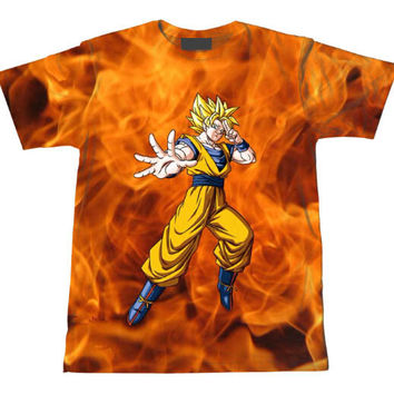 Super Saiyan Goku Dragon Ball Z Tie Dye Bleach Flaming Fire T-Shirt