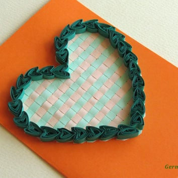 Quilling Card Love Heart, Quilled Valentine's Day Heart, Perfect Romantic Gift, in Green and Orange