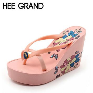 HEE GRAND Summer Women Sandals Casual Style Floral Flip Flops High Platform Wedges Hot