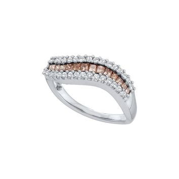 14kt White Gold Womens Princess Cognac-brown Colored Diamond Curved Band Ring 5/8 Cttw