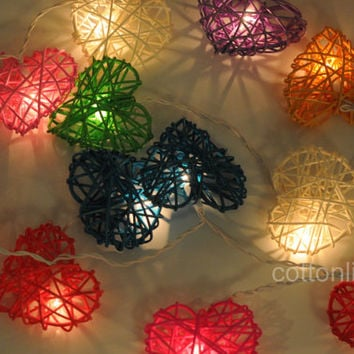 love heart mix color rattan string light outdoor wedding light reception decor bedroom light