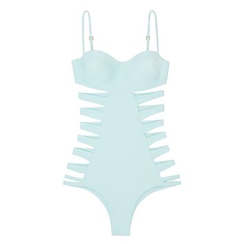 San Sebastian Underwire Side Cut Out One Piece Swimsuit - Mint Green
