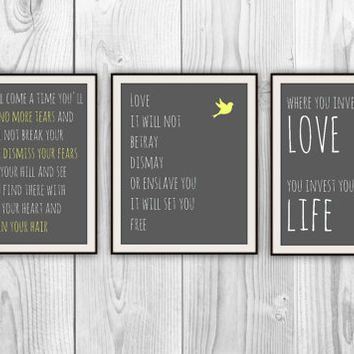 Mumford & Sons Trio -  Set of 3 11x14 Lyric prints - other colors and sizes available