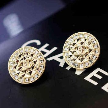 Chanel Woman Fashion CC Logo Crystal Stud Earring Jewelry