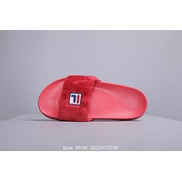 FILA Newest Fashion Women Casual Fur Flats Sandals Slippers Shoes Red
