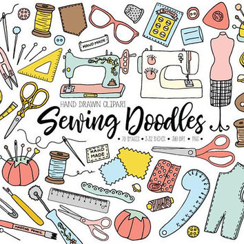 Sewing Clipart. Hand Drawn  Crafts, Thread, Mannequin Clip Art. Pink, Mint, Peach Dressmaking Illustrations. Doodle Needles, Sewing Machine.