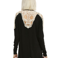 Black & Ivory Crochet Skull Girls Cardigan
