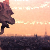 Paris Notre Dame Gargoyles and Eiffel Tower Fine Art Photography Print