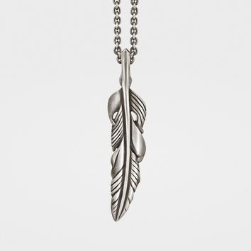 Baroque Feather Pendant in Sterling Silver