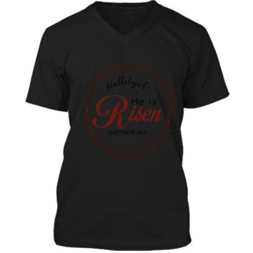 He is Risen Christian Easter Graphic T Shirt Bible Verse Mens Printed V-Neck T