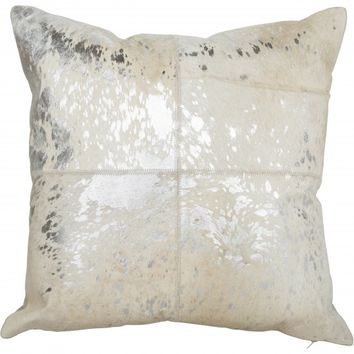 Cloud 9 Canaan Silver Hair on Hide Pillow
