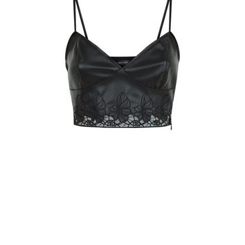 Black Leather-Look Floral Cut Out Bralet | New Look