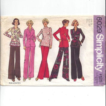 Simplicity 6029 Pattern for Misses Top, Blouse, Pants, Size 14, From 1973, Pantsuit Pattern, Vintage Pattern, Home Sewing, 1973 Fashion Sew