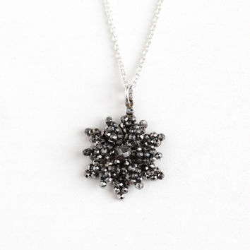 Antique Victorian Era Cut Steel Pendant Necklace - Vintage 1800s Dainty Flower Riveted Star Cluster Charm Sterling Silver Chain Rare Jewelry