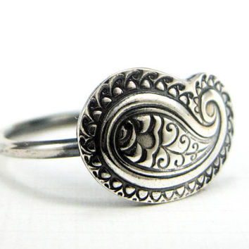 Paisley Ring Sterling and Fine Silver Ring Bohemian Boho Jewelry Made to Order