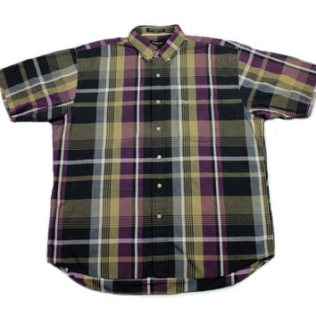 Christian Dior Monsieur Purple/Black/Olive Plaid Button Down Shirt Mens Size Large