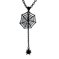 Black Spider Web Necklace with Hanging Spider