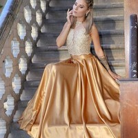 Princess Two Piece Gold Long Prom Dress Lace dresses from prom dress