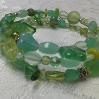 Sea Green Memory Wire Bracelet