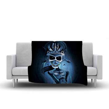 "Ivan joh ""Tattoo Girl"" Black Blue Pop Art Fantasy Illustration Painting Fleece Throw Blanket"