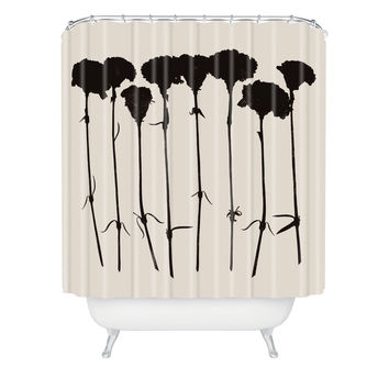 Garima Dhawan Carnations Black Shower Curtain