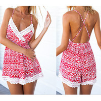 PRINTING SUMMER BACKLESS DRESS