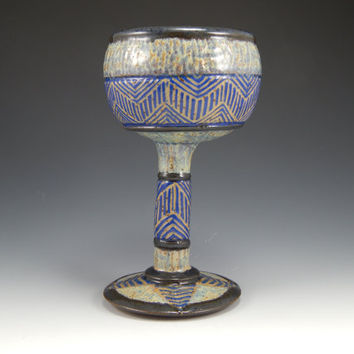 sgraffito goblet, hand thrown, blue, green, geometric
