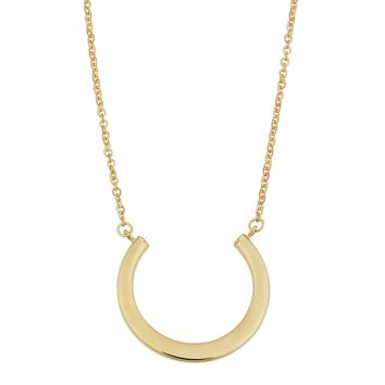 "14K Yellow Gold Half Circle Pendant On 17"" To 18"" Adjustable Necklace"